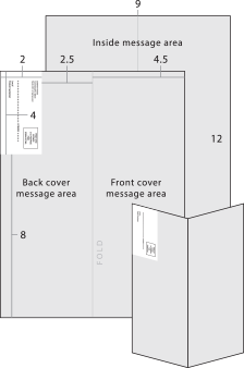 12 x 4.5 (folded), double-sided, 12 x 9 (flat)